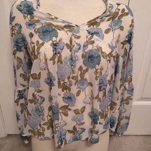 Floral flow peasant blouse